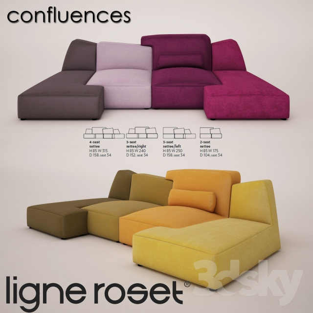 3d models sofa ligne roset confluences. Black Bedroom Furniture Sets. Home Design Ideas