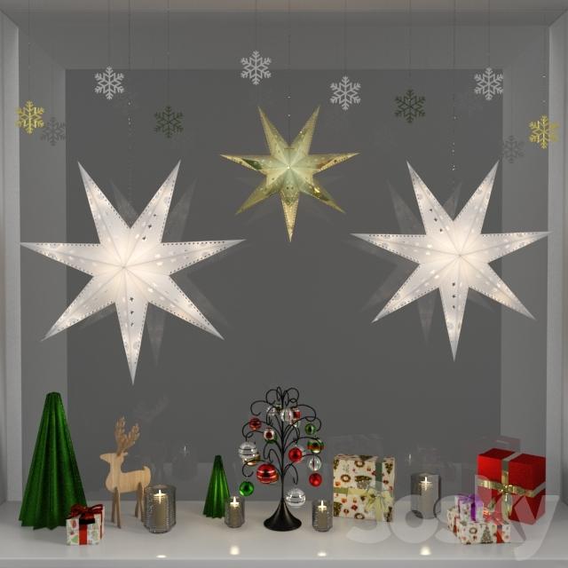 Christmas window decoration 3d model