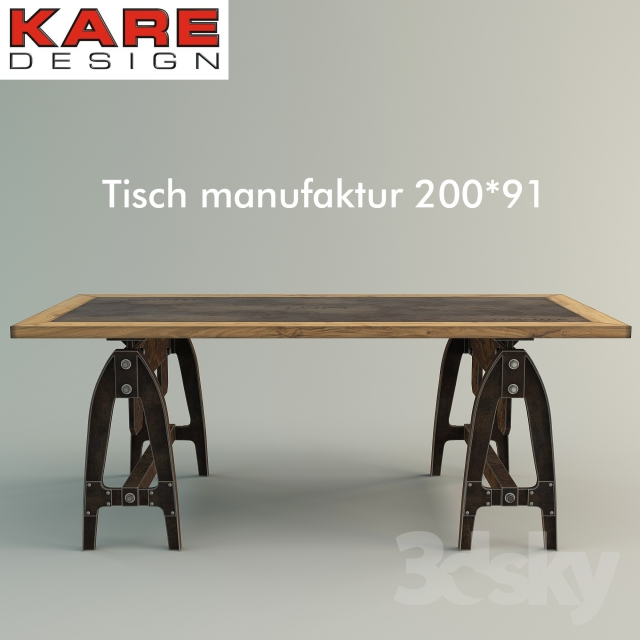 3d Models Table Tisch Manufaktur 200x91 By Kare Design