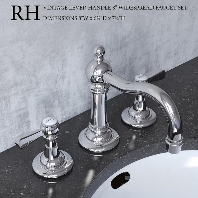 3d models: Faucet - VINTAGE LEVER-HANDLE 8in WIDESPREAD FAUCET SET