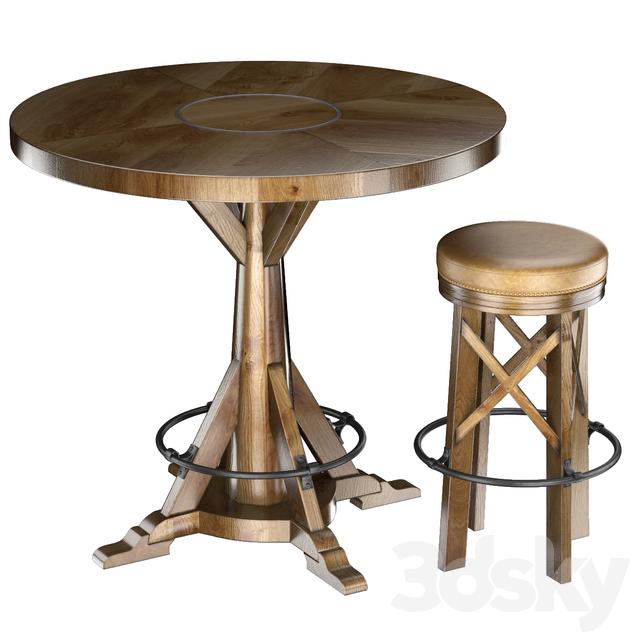 HUNTINGDON COLLECTION table and bar stool