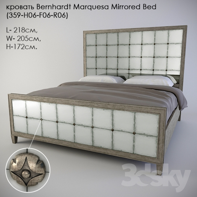 Bed Bernhardt Marquesa Mirrored Bed (359-H06-F06-R06)