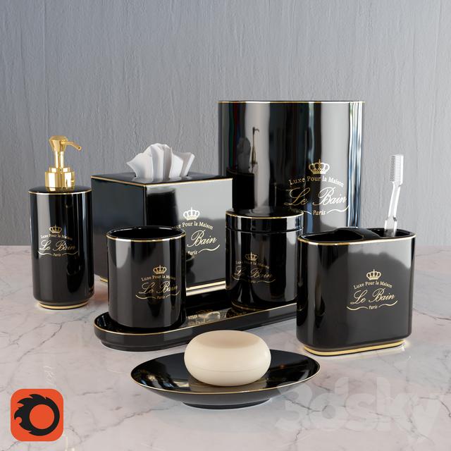 3d models bathroom accessories kassatex le bain black for Black and gold bathroom accessories