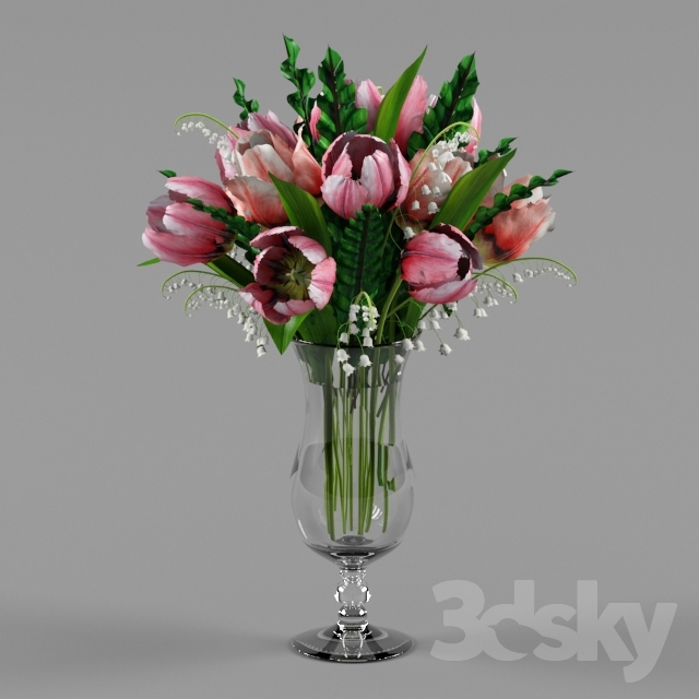 "Tulips and lilies in a vase ""Hurricane"""