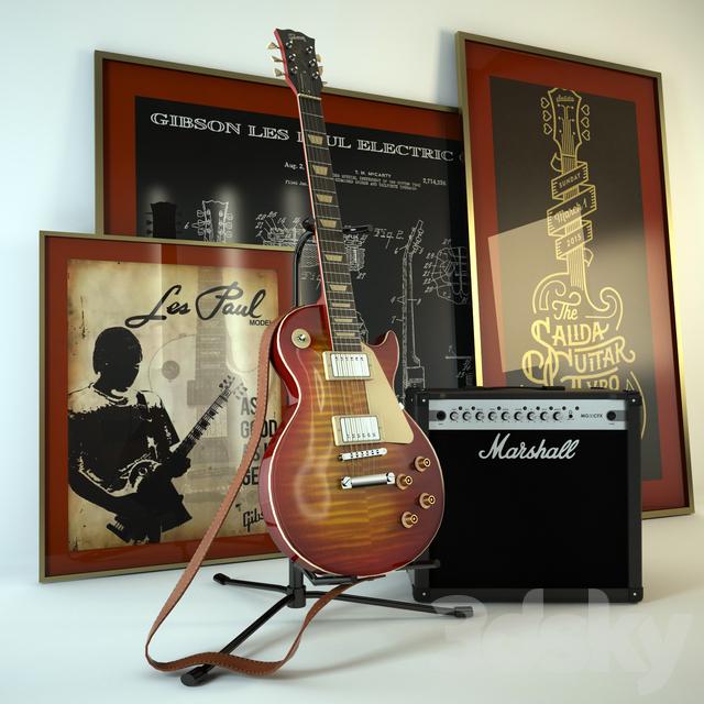 3d models: Musical instrument - Gibson Guitar and Amplifier