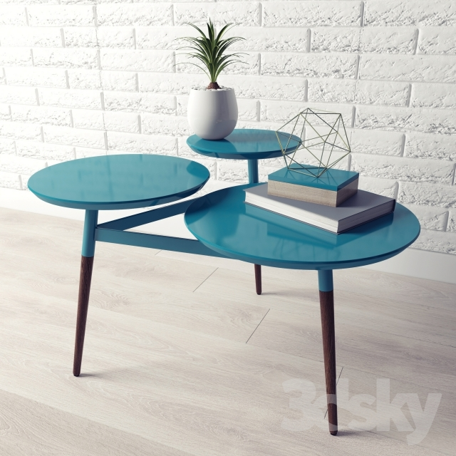 D Models Table Clover Coffee Table - West elm clover coffee table