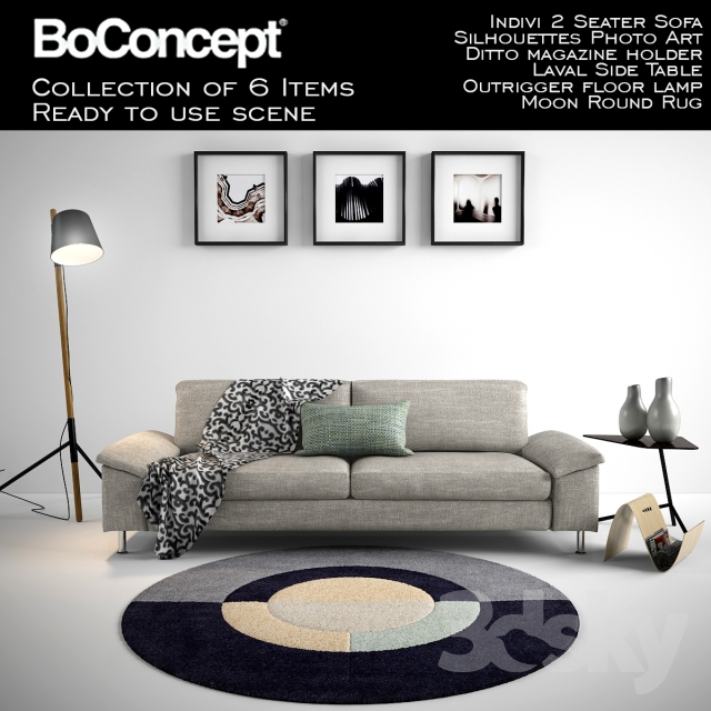 3d Models Other Boconcept Indivi 2 Seater Sofa With Full Scene