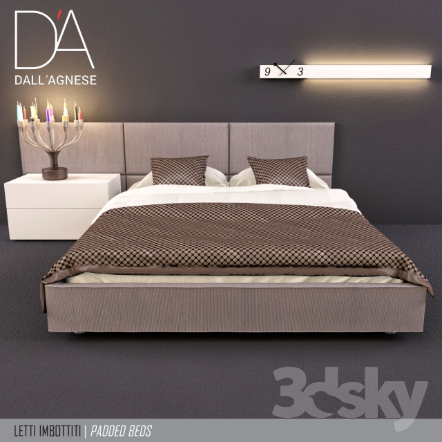 3d models bed bed teenager dallagnese square and sommier. Black Bedroom Furniture Sets. Home Design Ideas