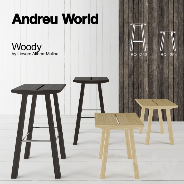 Sensational 3D Models Chair Barstool Counter Stool Andreu World Evergreenethics Interior Chair Design Evergreenethicsorg