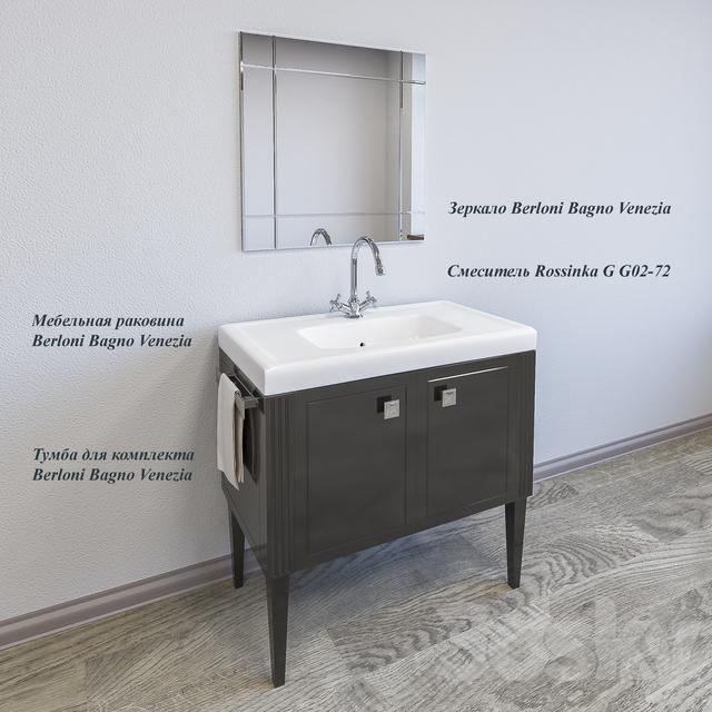 3d models: Bathroom furniture - Sink Berloni Bagno Venezia + Stand ...
