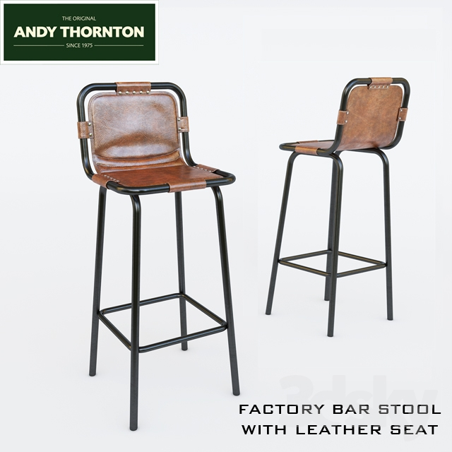 Factory Bar Stool With Leather Seat