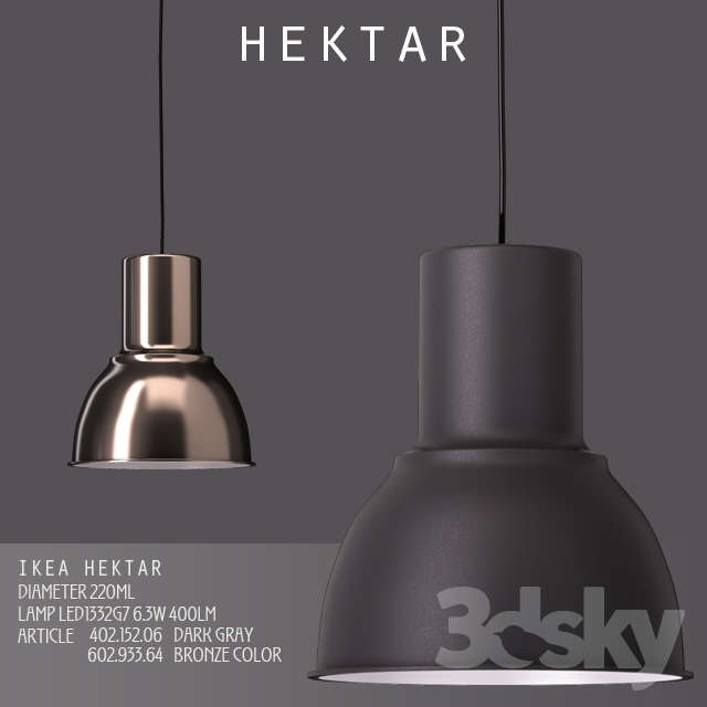 3d Models Ceiling Light Suspension Ikea Hektar