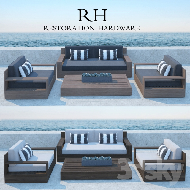 Restoration Hardware Marbella Teak Sofa