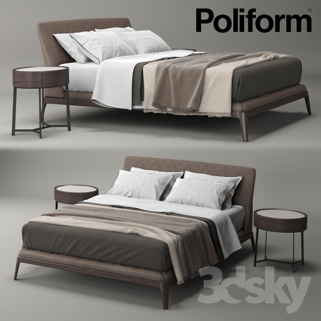 3d models bed poliform kelly. Black Bedroom Furniture Sets. Home Design Ideas