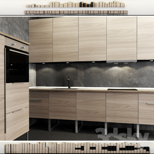 3d models kitchen kitchen ikea method brokhult brokhult for Ikea cucina 3d