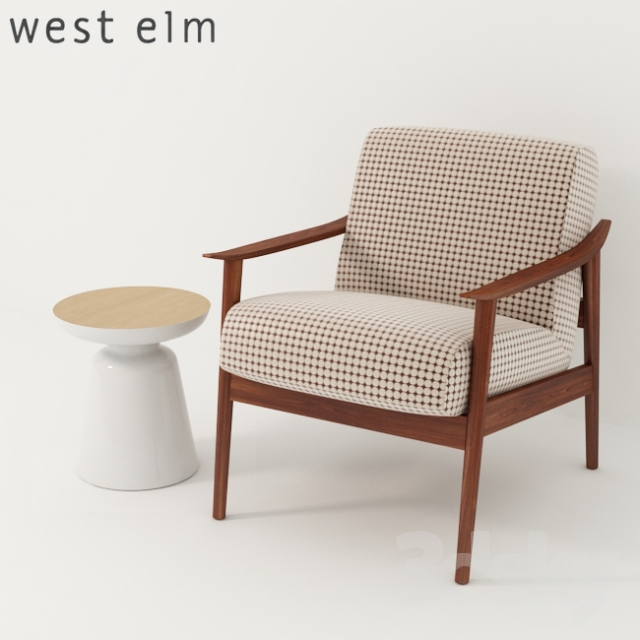 3d models arm chair west elm mid century show wood upholstered chair martini two tone side. Black Bedroom Furniture Sets. Home Design Ideas
