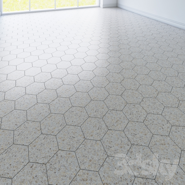3d models: Tile - hexagon tile. 3 types
