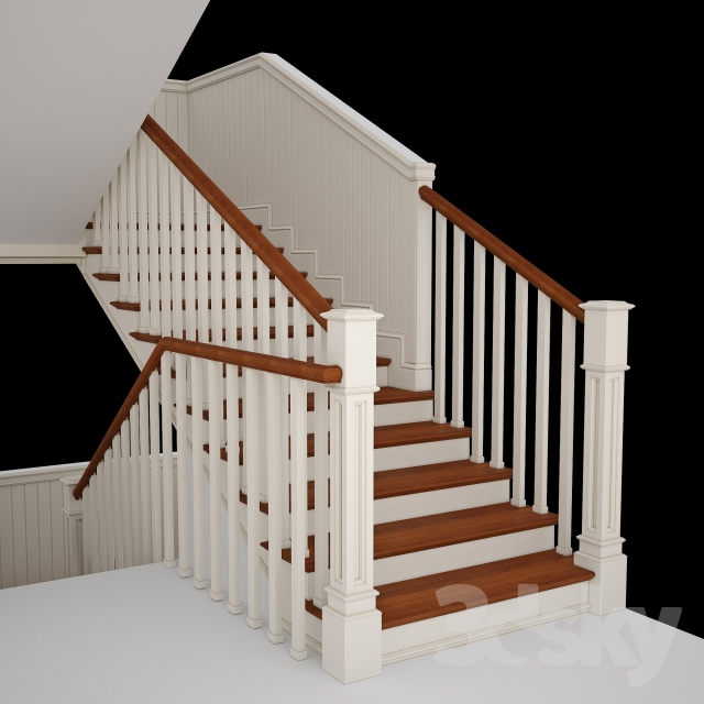 3d models staircase stairs in colonial style for Mobel kolonial style