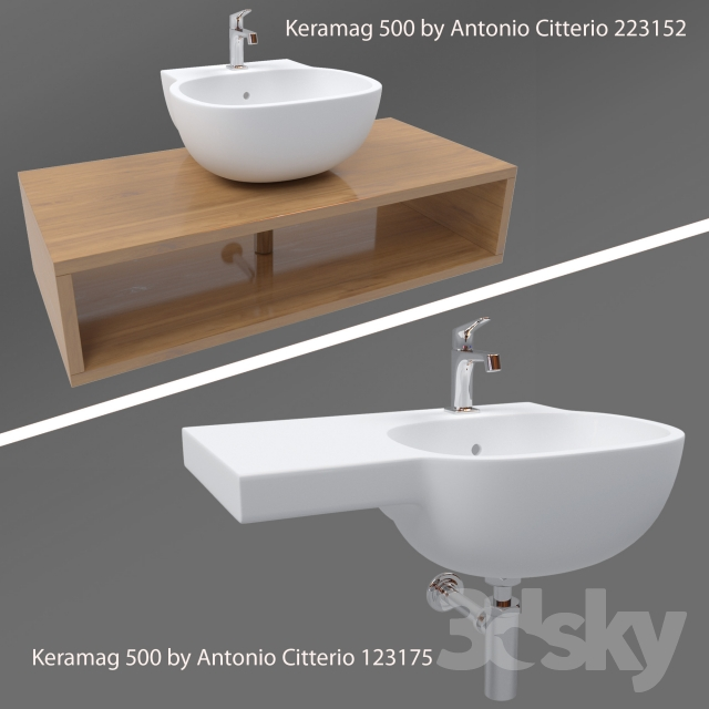 3d models wash basin keramag 500 by antonio citterio. Black Bedroom Furniture Sets. Home Design Ideas