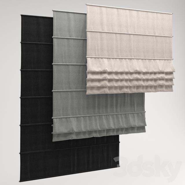 3d models: Curtain - Roman Shade 22