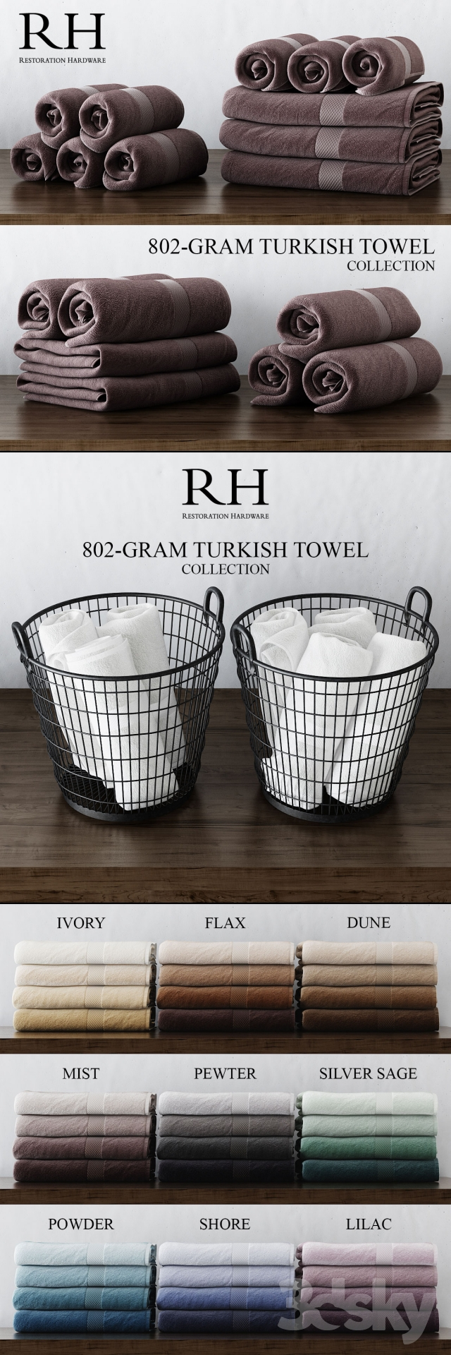 3d Models Bathroom Accessories Rh 802 Gram Turkish Towel Collection
