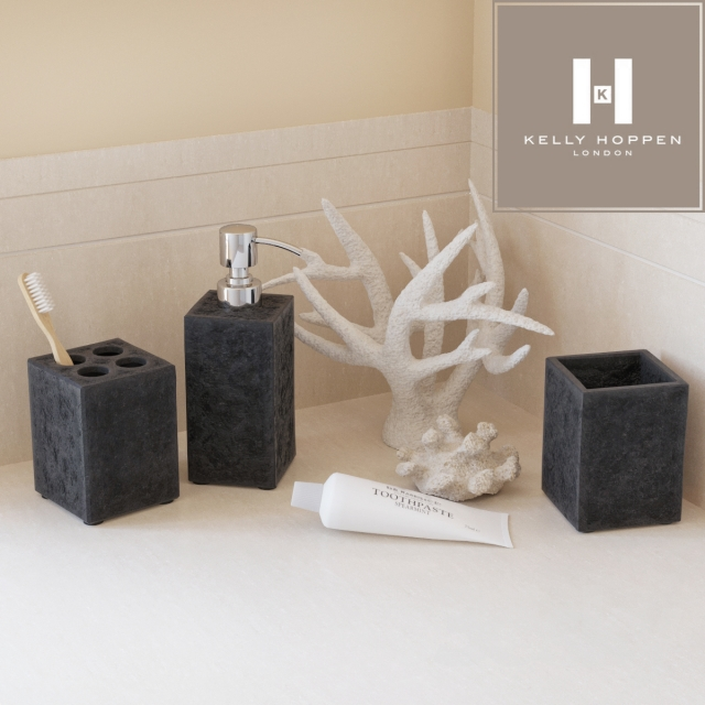 3d models bathroom accessories kelly hoppen black stone accessories