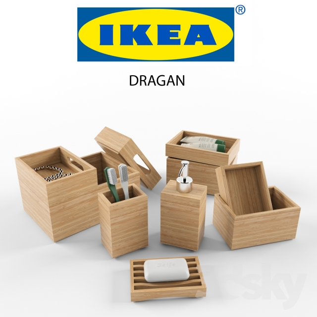 3d models bathroom accessories ikea dragan set - Bathroom accessories sets ikea ...