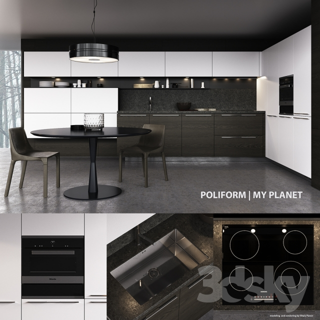 kitchen poliform my planet handle vray corona - Poliform Kitchen
