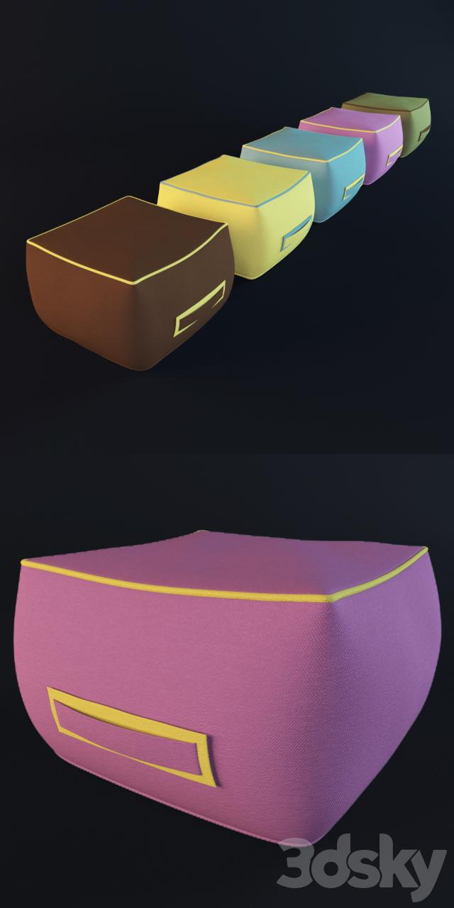 3d models: Other soft seating - ATMOSPHERA Soft  Pouf da giardino quadrato