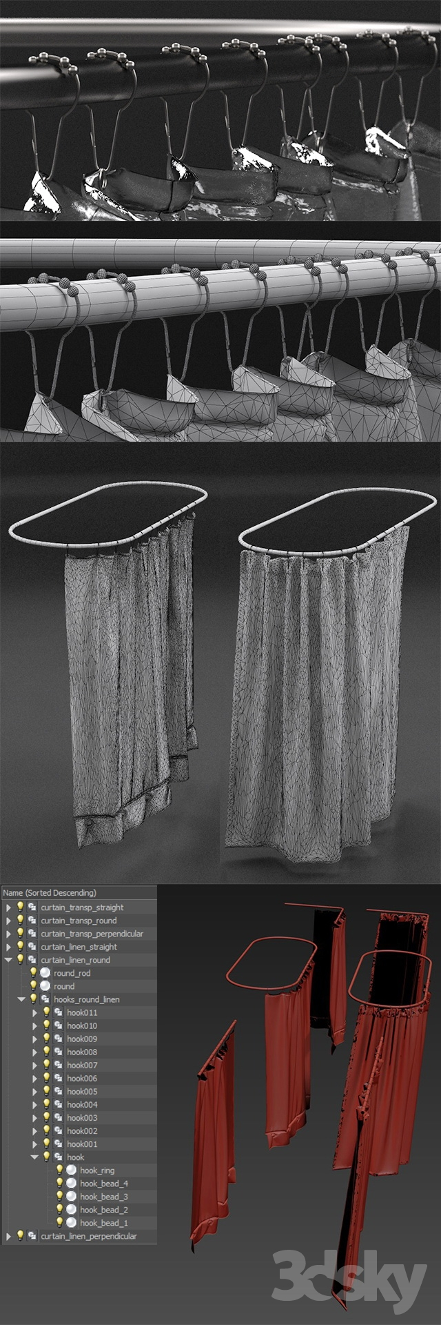 3d models bathroom accessories curtains for shower from - Restoration hardware bathroom accessories ...