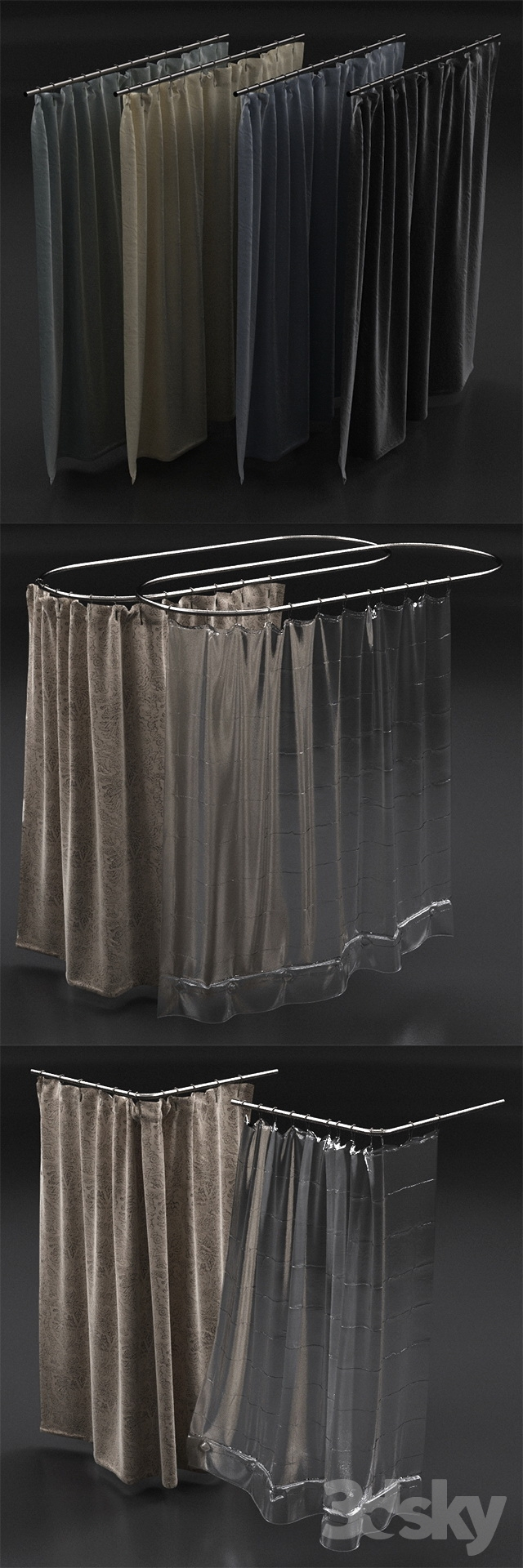 3d Models Bathroom Accessories Curtains For Shower From Restoration Hardware