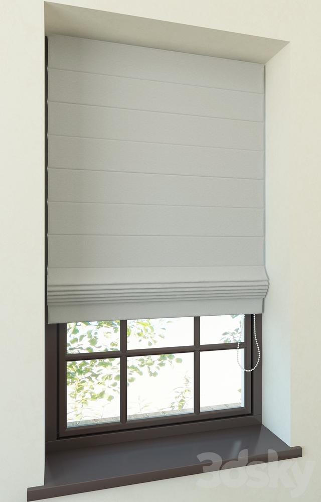 3d models curtain restoration hardware tailored romain for Restoration hardware window shades
