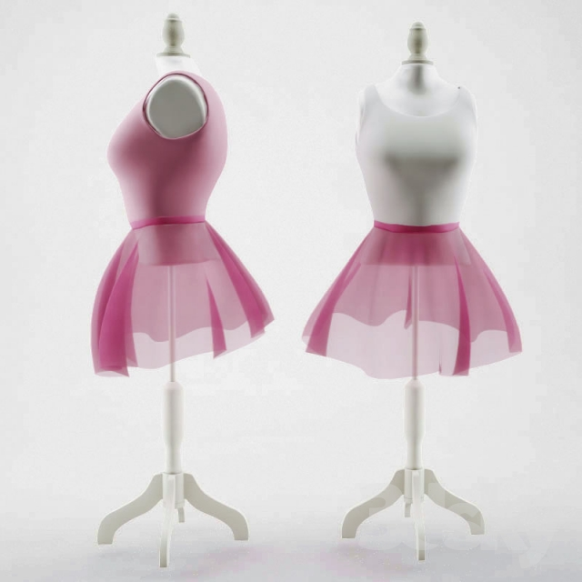 3d models miscellaneous danseuse pink white couture mannequin - Mannequin couture maison du monde ...