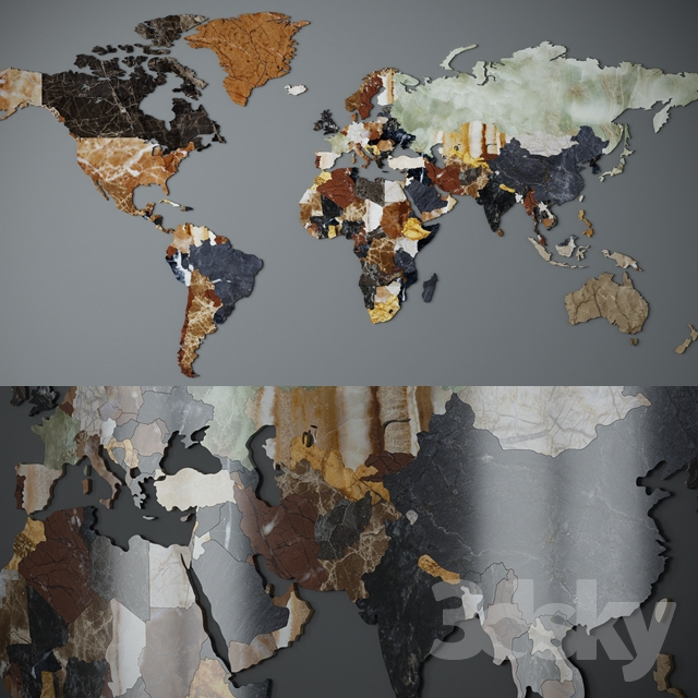 world map cnc cutting of marble
