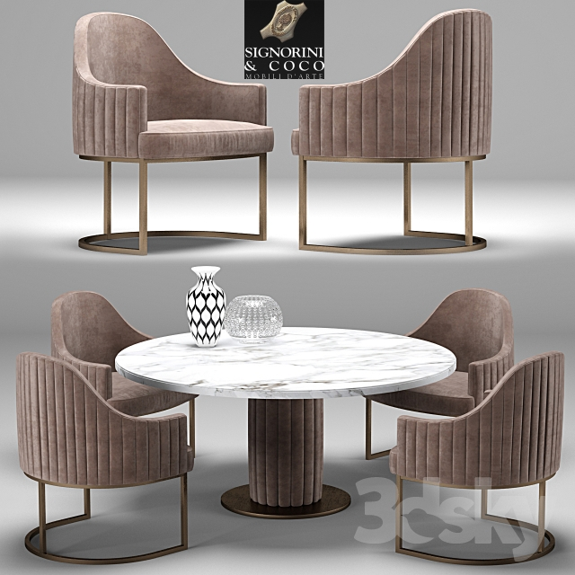 3d models: Table + Chair - Desk-chair Isabel-Byron, Signorini & Coco