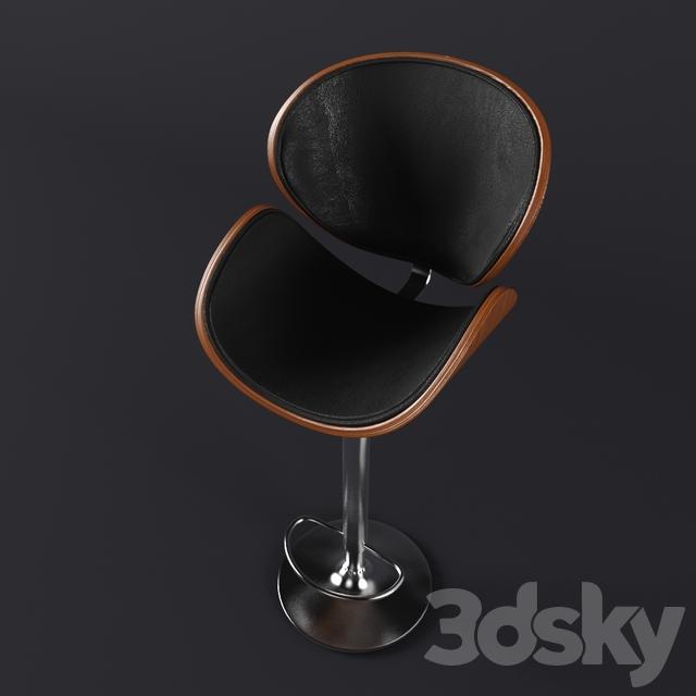 3d Models Chair Crocus Walnut Bar Stool By Baxton Studio