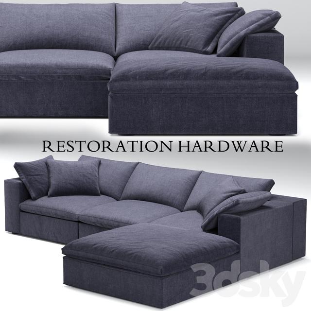 Restoration Hardware Cloud Modular Blue Sofa