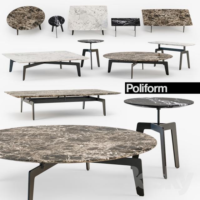 3d Models Table Poliform Tribeca Coffee Table Set
