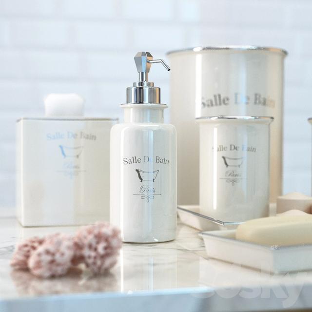 Set Salle De Bain.3d Models Bathroom Accessories Set Of Luxury Bathroom