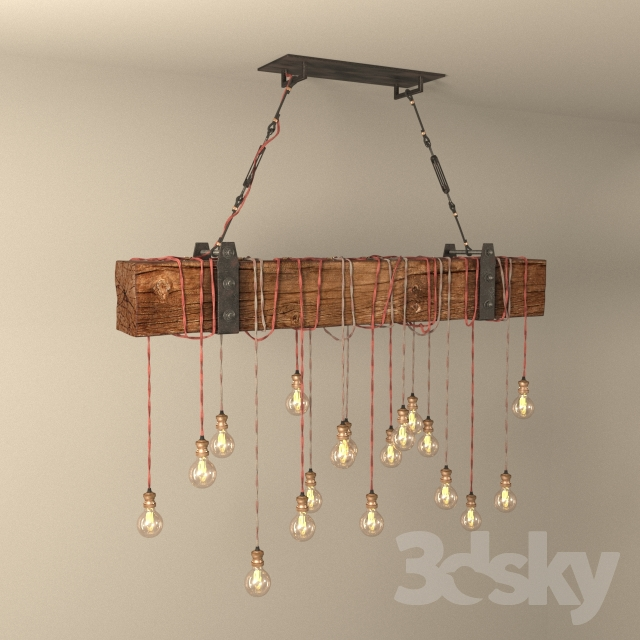 3d models: Ceiling light - Chandelier made of wooden beams DIY