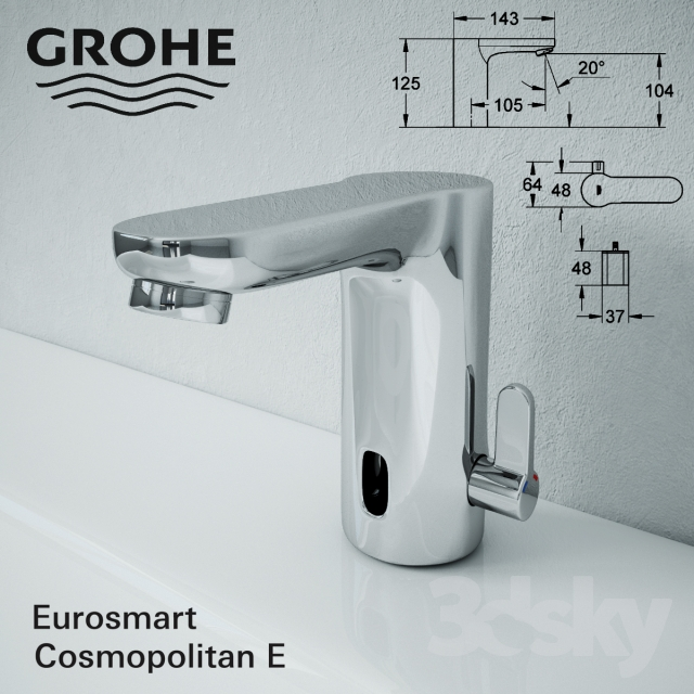 3d models faucet grohe eurosmart cosmopolitan e. Black Bedroom Furniture Sets. Home Design Ideas