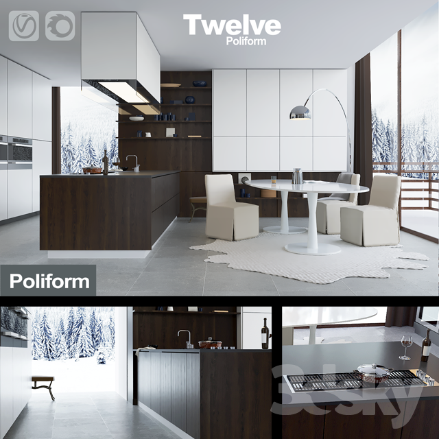 kitchen poliform varenna twelve vray corona - Poliform Kitchen