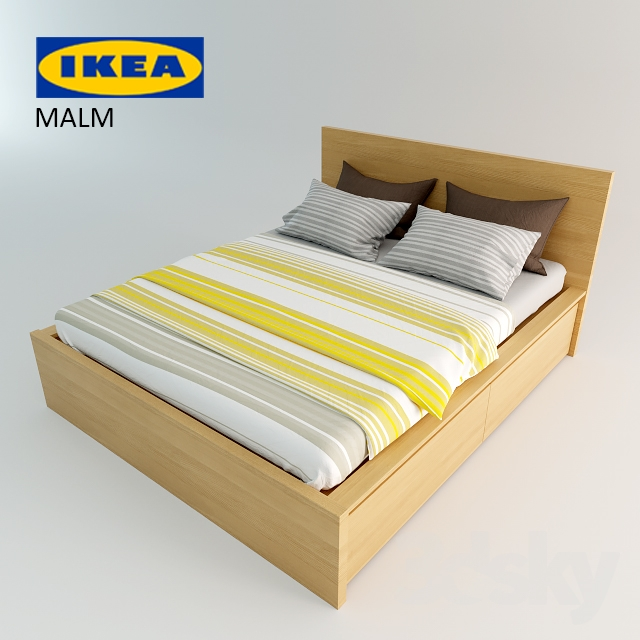 3d models bed ikea bed malm. Black Bedroom Furniture Sets. Home Design Ideas