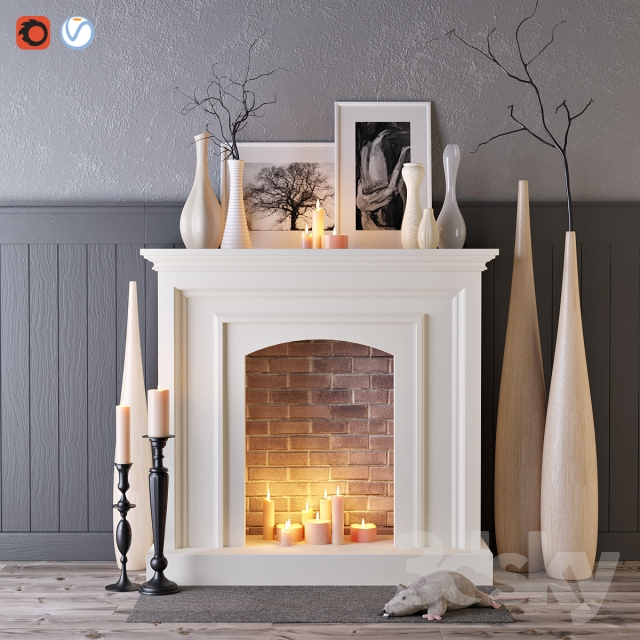 decorative fireplace with candles - Decorative Fireplace