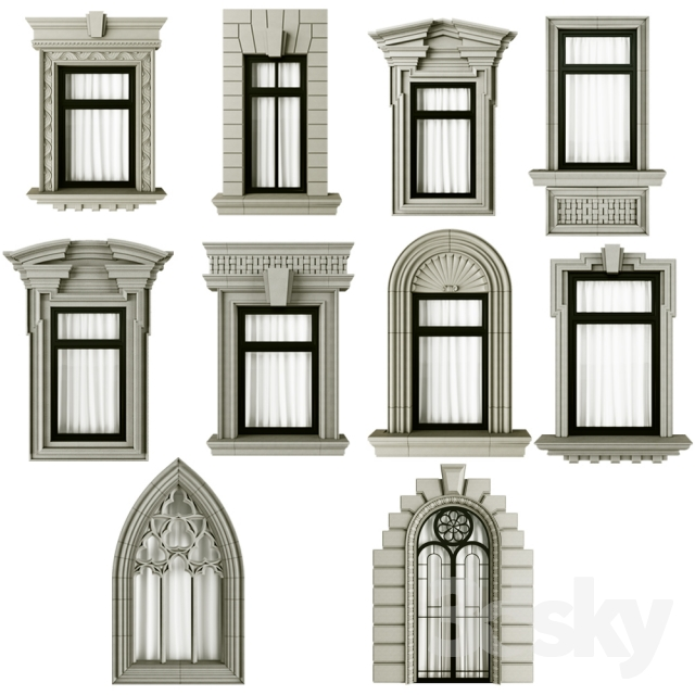 3d models windows classic frame window for Window frame designs house design