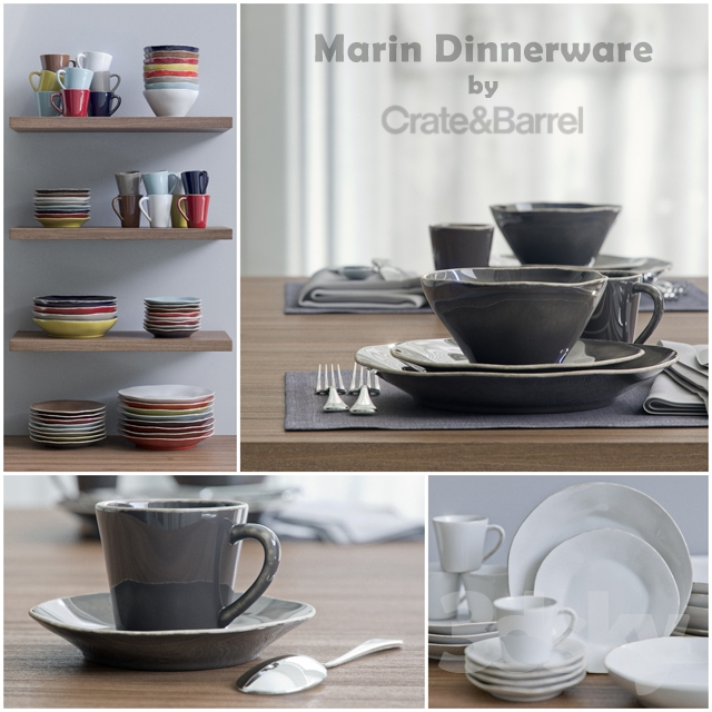 Marin Dinnerware collection by Crateu0026Barrel & 3d models: Tableware - Marin Dinnerware collection by Crateu0026Barrel