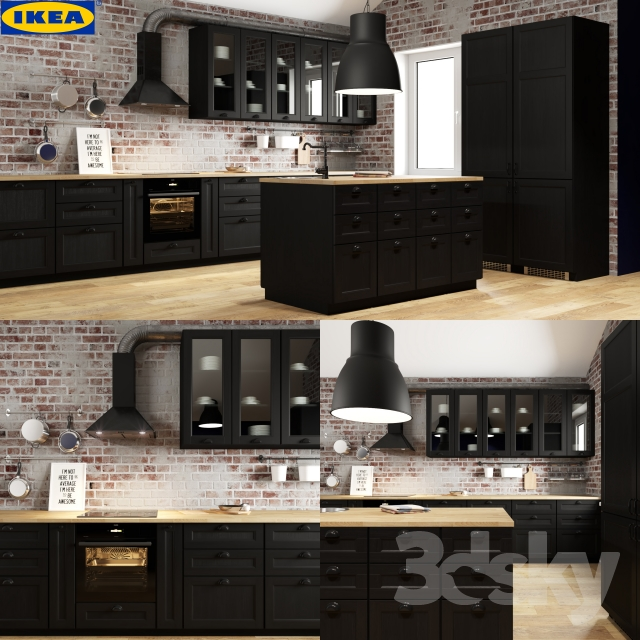 3d models kitchen ikea laxarby. Black Bedroom Furniture Sets. Home Design Ideas
