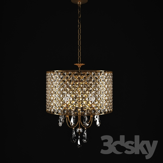 3d Models Ceiling Light Crystal Drum Chandelier Antique Copper