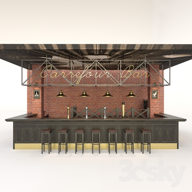 3d models restaurant bar counter for Food bar 3d model