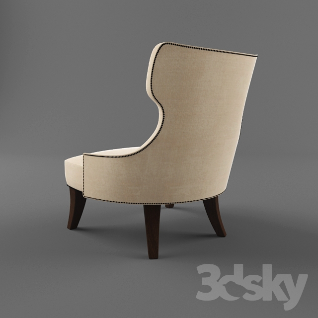 3d models Arm chair tufted back lounge chair